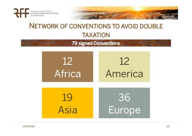 NETWORK OF CONVENTIONS TO AVOID DOUBLE TAXATION 10-05-2017 23 79 signed Conventions 12 Africa 12 America 19 Asia 36 Europe