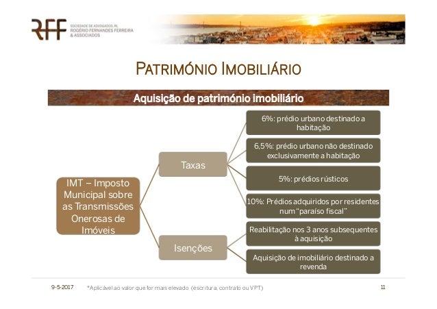 PATRIMÓNIO IMOBILIÁRIO 9-5-2017 11 IMT – Imposto Municipal sobre as Transmissões Onerosas de Imóveis Taxas 6%: prédio urba...