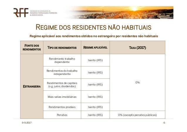 REGIME DOS RESIDENTES NÃO HABITUAIS 9-5-2017 6 FONTE DOS RENDIMENTOS TIPO DE RENDIMENTOS REGIME APLICÁVEL TAXA (2017) ESTR...