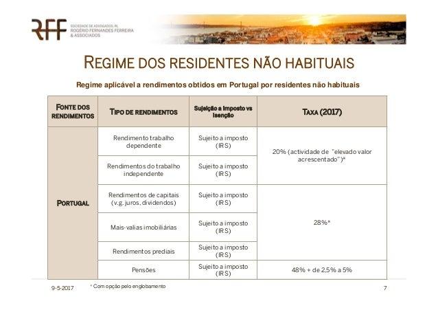 REGIME DOS RESIDENTES NÃO HABITUAIS 9-5-2017 7 FONTE DOS RENDIMENTOS TIPO DE RENDIMENTOS Sujeição a Imposto vs Isenção TAX...