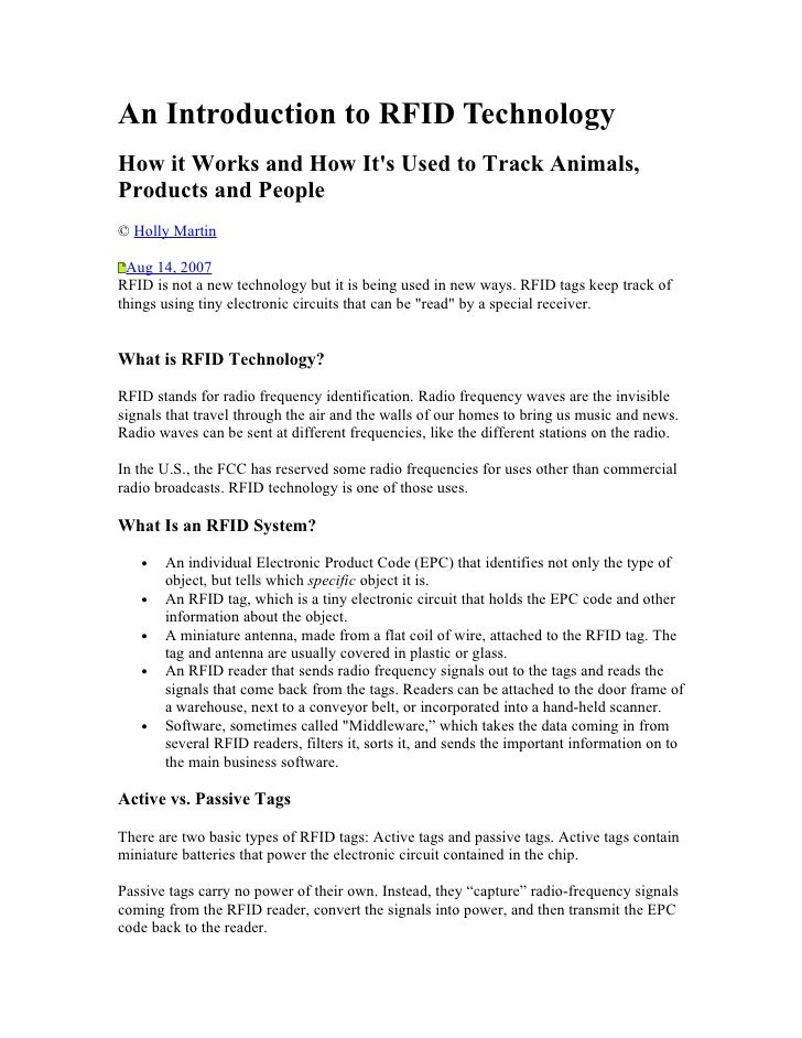 An Introduction to RFID Technology How it Works and How It's Used to Track Animals, Products and People © Holly Martin   A...