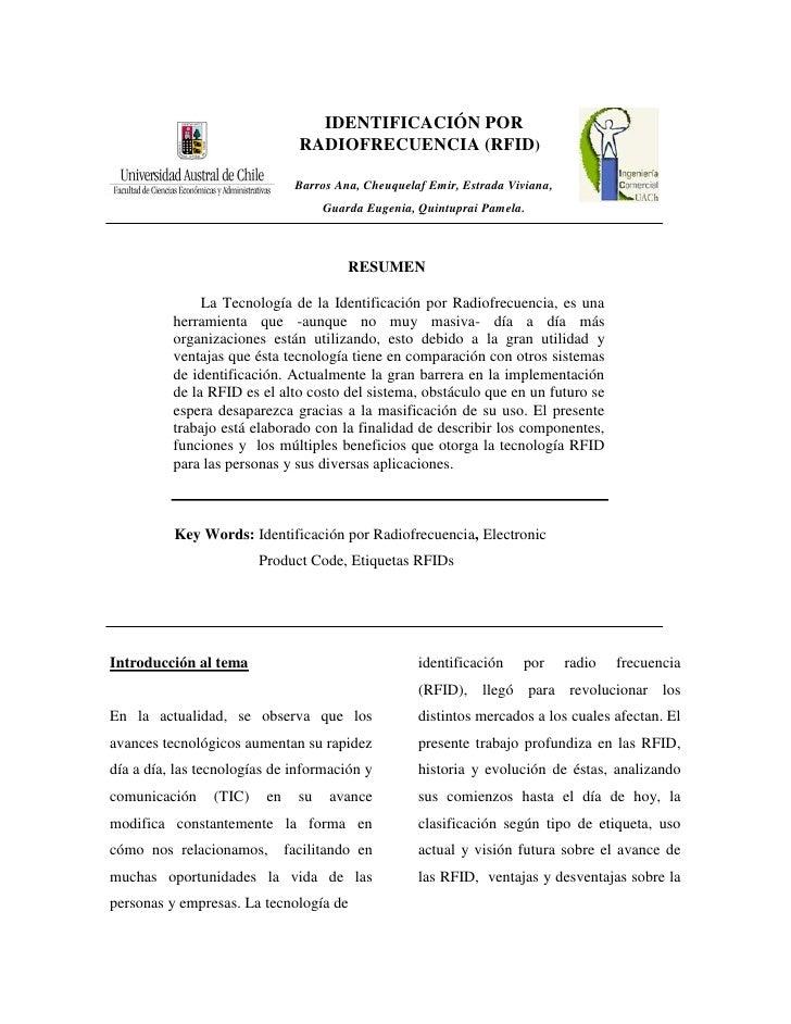 IDENTIFICACIÓN POR                                  RADIOFRECUENCIA (RFID)                                  Barros Ana, Ch...