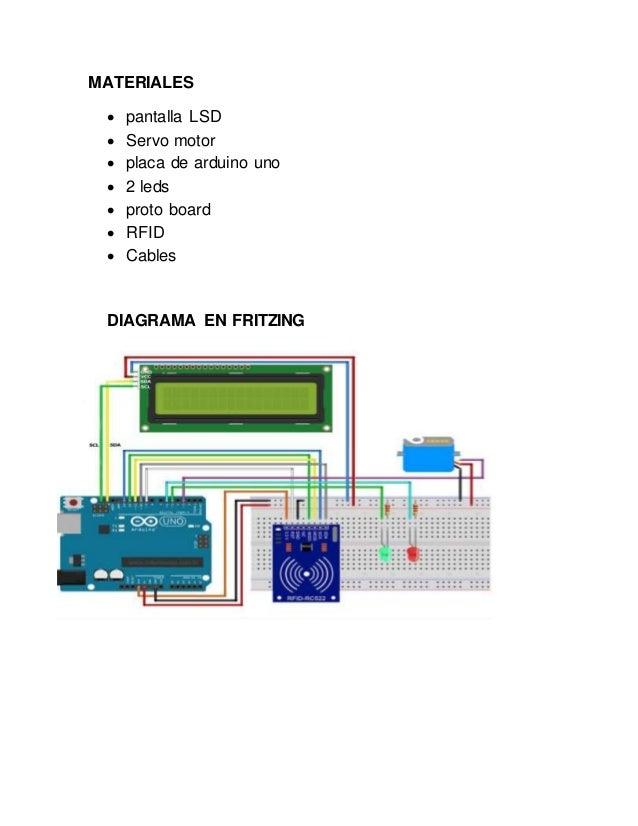 MATERIALES  pantalla LSD  Servo motor  placa de arduino uno  2 leds  proto board  RFID  Cables DIAGRAMA EN FRITZING