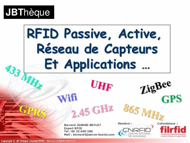 JBThèque                   RFID Passive, Active,                    Réseau de Capteurs                     Et Applications...