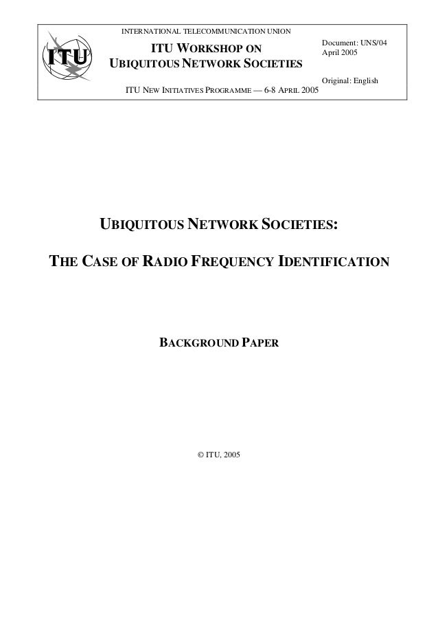 INTERNATIONAL TELECOMMUNICATION UNION                                                          Document: UNS/04           ...