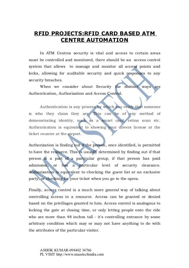 Latest Rfid Projects List Rfid Based Atm Center Automation