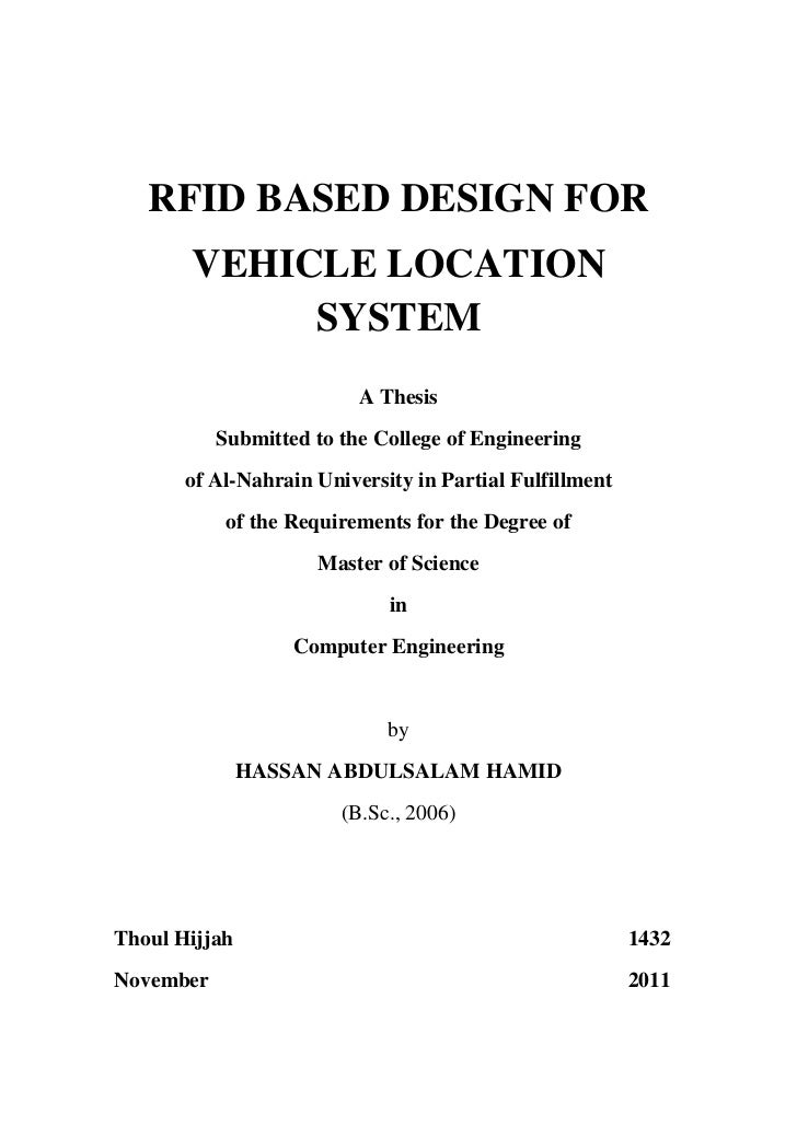 RFID BASED DESIGN FOR       VEHICLE LOCATION            SYSTEM                          A Thesis           Submitted to th...