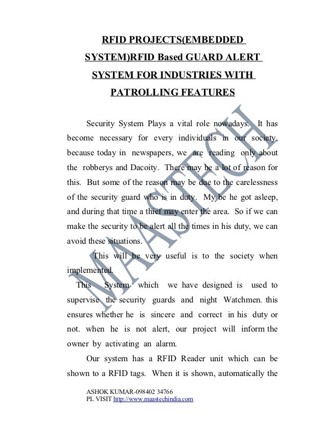 RFID PROJECTS(EMBEDDED     SYSTEM)RFID Based GUARD ALERT         SYSTEM FOR INDUSTRIES WITH             PATROLLING FEATURE...