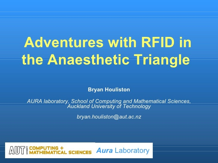 Adventures with RFID in the Anaesthetic Triangle  Bryan Houliston AURA laboratory, School of Computing and Mathematical Sc...