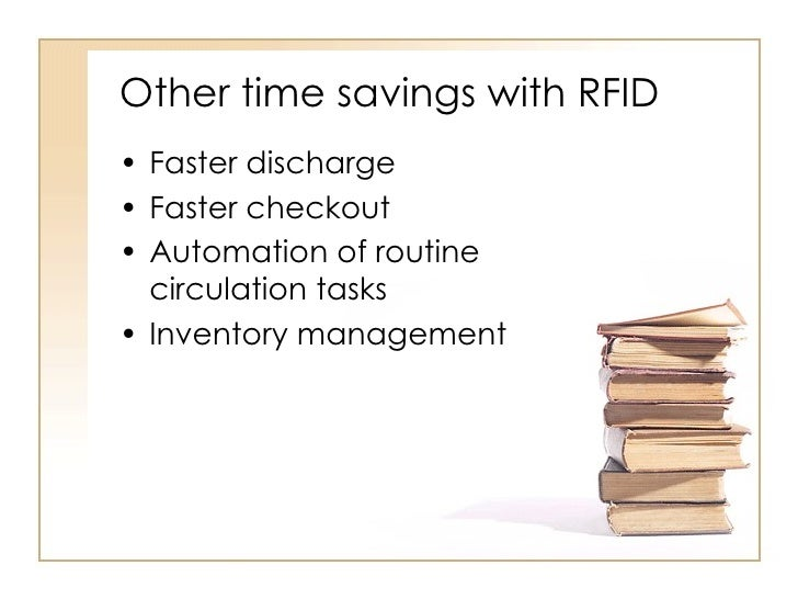 Other time savings with RFID <ul><li>Faster discharge </li></ul><ul><li>Faster checkout </li></ul><ul><li>Automation of ro...
