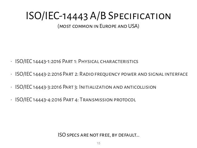 15 ISO/IEC-14443 A/B Specification (most common in Europe and USA) • ISO/IEC 14443-1:2016 Part 1: Physical characteristics...