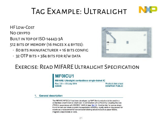 21 Exercise: Read MIFARE Ultralight Specification Tag Example: Ultralight HF Low-Cost No crypto Built in top of ISO-14443-...
