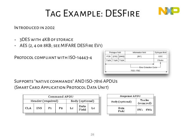 28 DESFire Introduced in 2002 • 3DES with 4KB of storage • AES (2,4 or 8KB; see MIFARE DESFire EV1) Protocol compliant wit...
