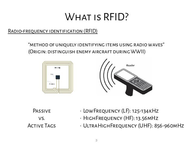 "3 What is RFID? Radio-frequency identification(RFID) ""method of uniquely identifying items using radio waves"" (Origin: di..."