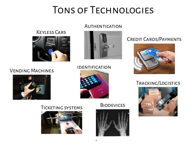 4 Tons of Technologies Keyless Cars Authentication Credit Cards/Payments Vending Machines Ticketing systems Biodevices Tra...