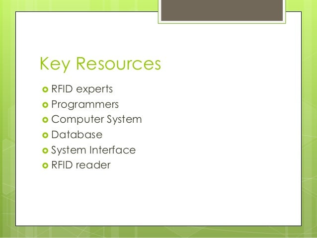 Key Resources  RFID experts  Programmers  Computer System  Database  System Interface  RFID reader
