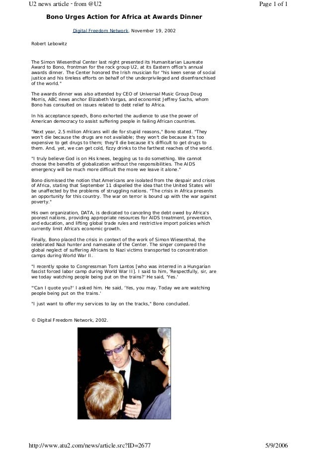 U2 news article - from @U2                                                               Page 1 of 1      Bono Urges Actio...
