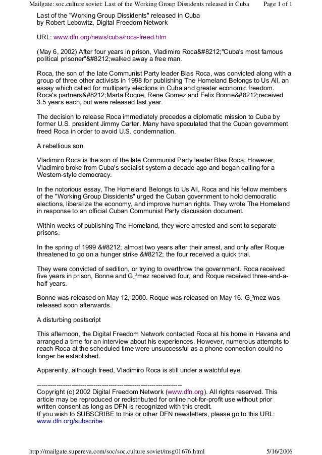 "Last of the ""Working Group Dissidents"" released in Cubaby Robert Lebowitz, Digital Freedom NetworkURL: www.dfn.org/news/cu..."