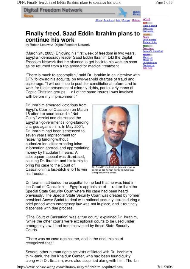 Africa | Americas | Asia | Europe | MideastFinally freed, Saad Eddin Ibrahim plans tocontinue his workby Robert Lebowitz, ...