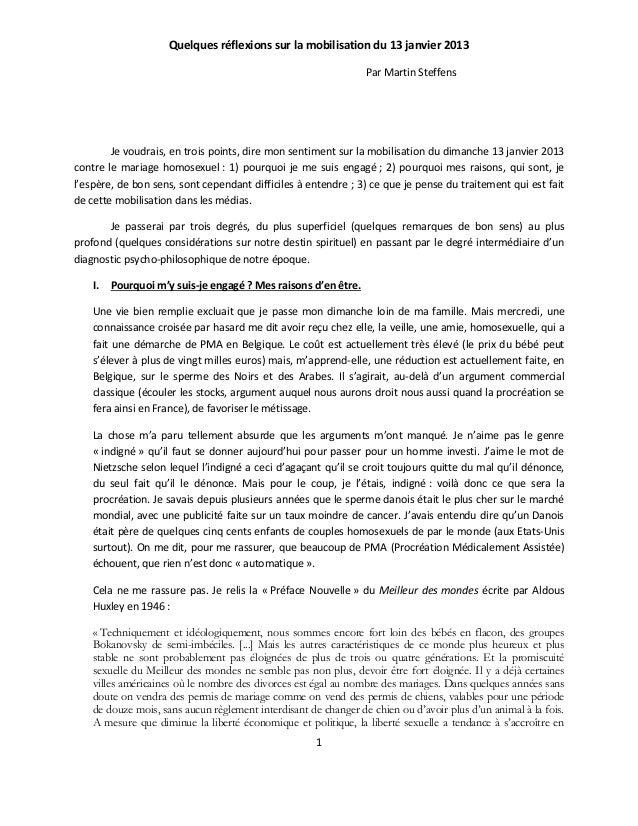 Quelques réflexions sur la mobilisation du 13 janvier 2013                                                                ...