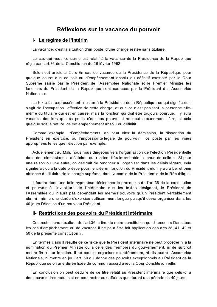 Réflexions sur la vacance du pouvoir   I- Le régime de l'intérim   La vacance, c'est la situation d'un poste, d'une charge...
