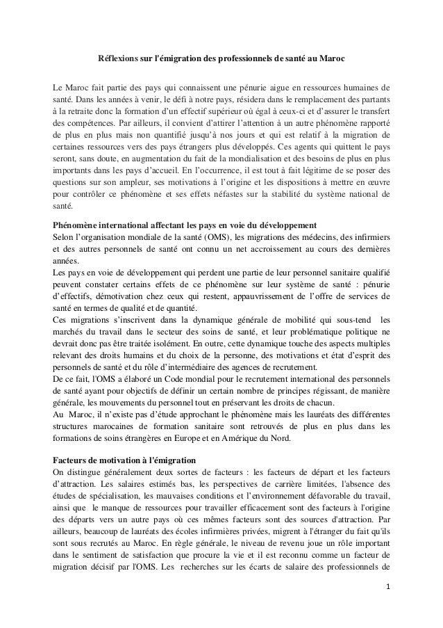Réflexions sur l'émigration des professionnels de santé au Maroc Le Maroc fait partie des pays qui connaissent une pénurie...