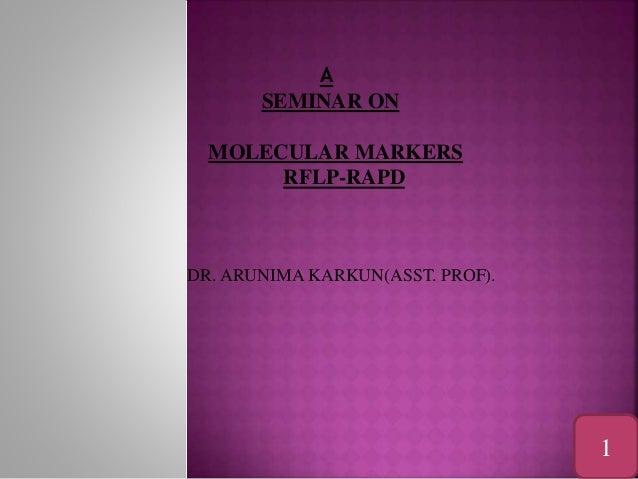 A SEMINAR ON MOLECULAR MARKERS RFLP-RAPD DR. ARUNIMA KARKUN(ASST. PROF). 1 1