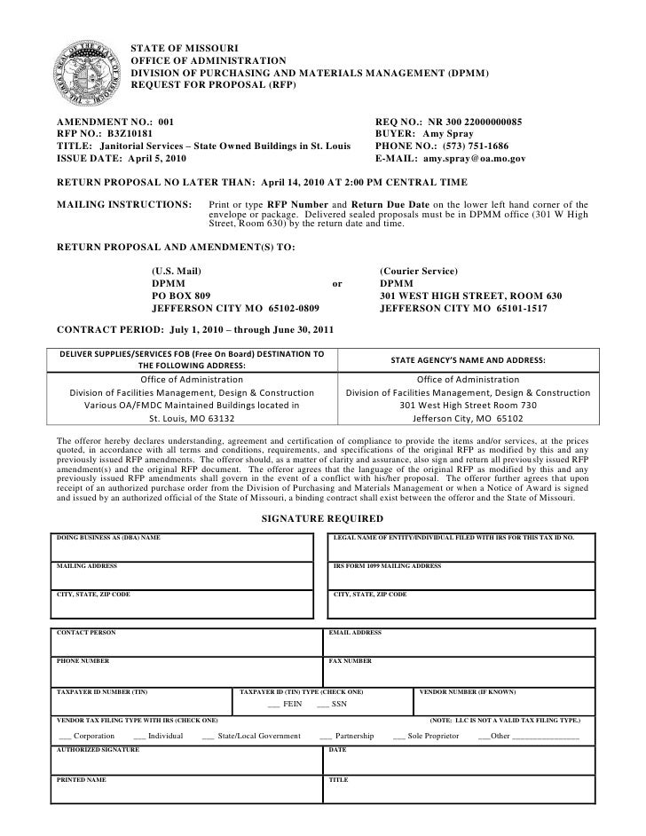 STATE OF MISSOURI<br />OFFICE OF ADMINISTRATION<br />DIVISION OF PURCHASING AND MATERIALS MANAGEMENT (DPMM)<br />REQUEST F...