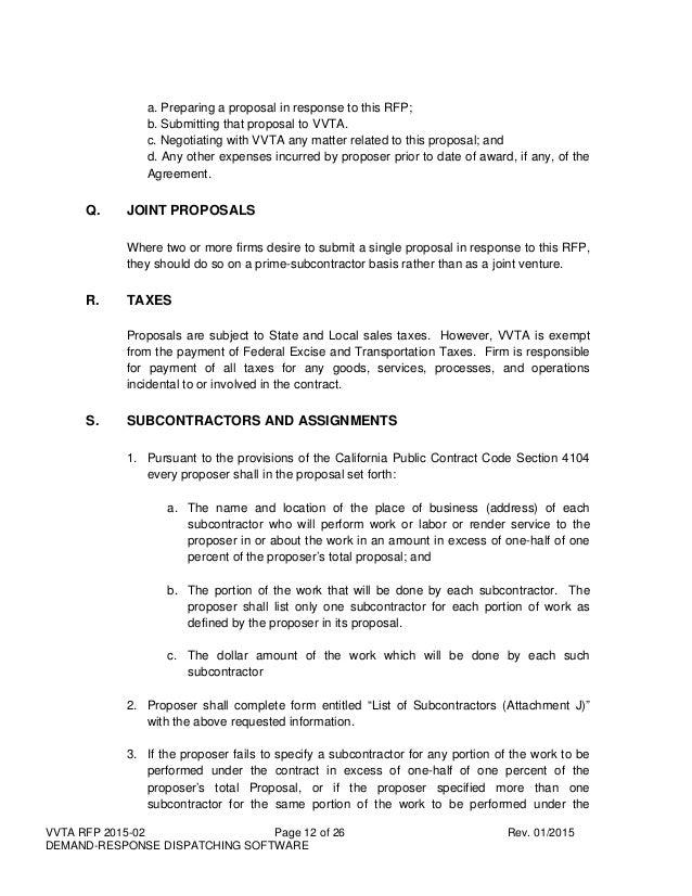 VVTA RFP 2015-02: Demand Response Dispatching Software
