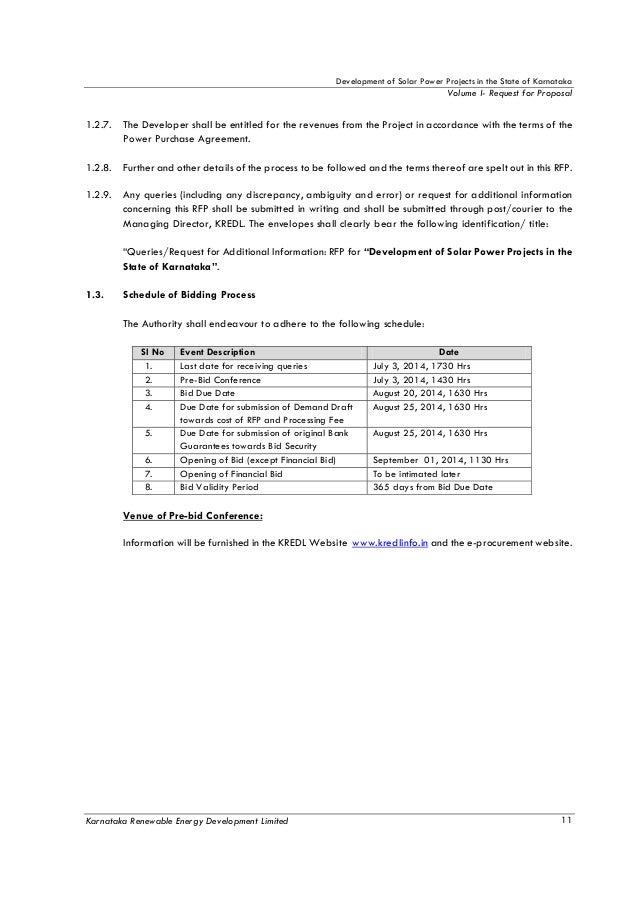 RFP Document of Solar Power Project in Karnataka