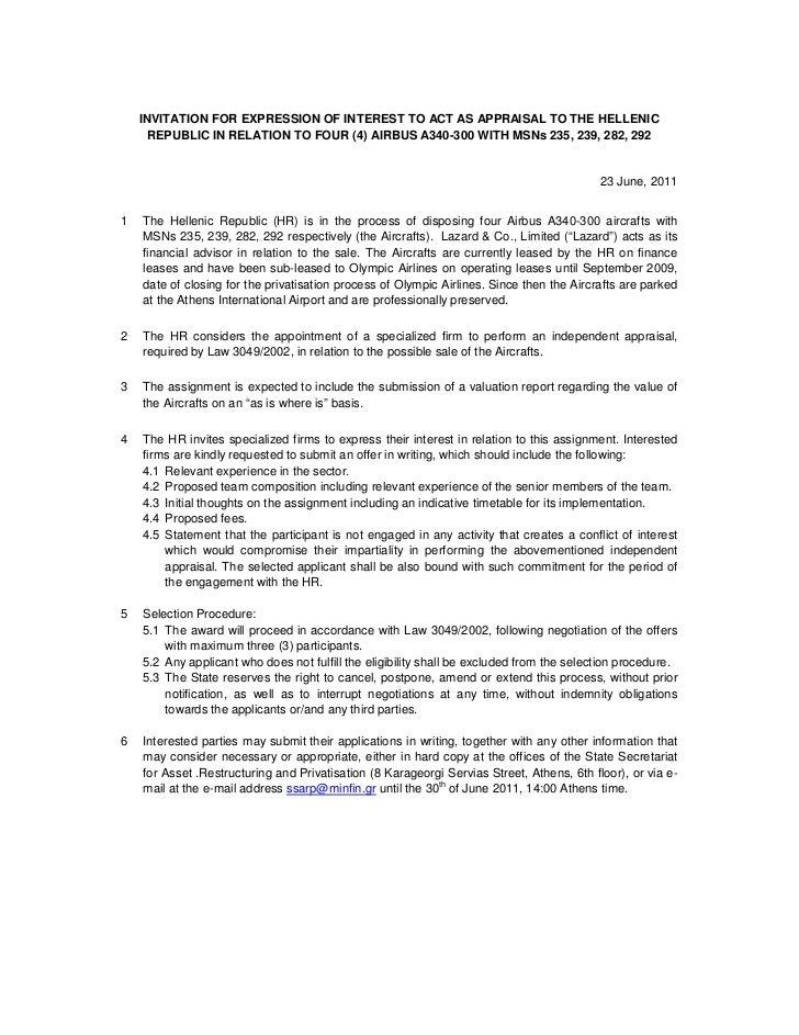 INVITATION FOR EXPRESSION OF INTEREST TO ACT AS APPRAISAL TO THE HELLENIC      REPUBLIC IN RELATION TO FOUR (4) AIRBUS A34...
