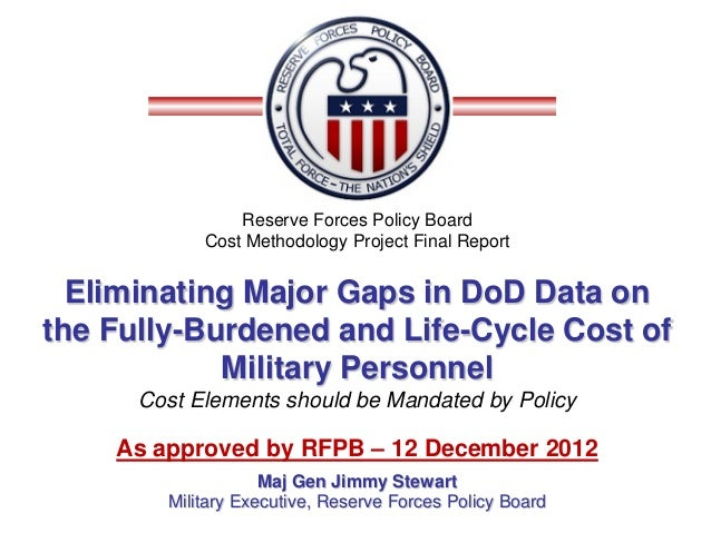 Reserve Forces Policy Board            Cost Methodology Project Final Report  Eliminating Major Gaps in DoD Data onthe Ful...