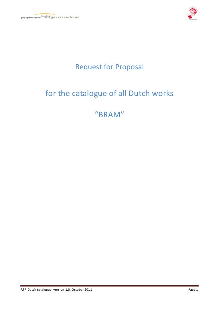 """Request for Proposal               for the catalogue of all Dutch works                                                 """"B..."""