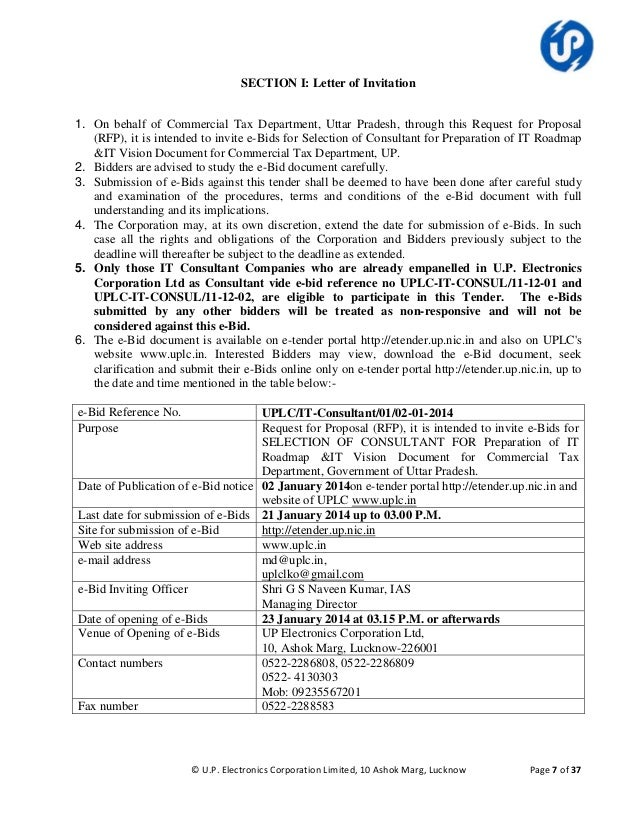 Rfp for selection of it consultant under commercial tax department g 7 section i letter of invitation 1 on behalf of commercial tax department spiritdancerdesigns Image collections