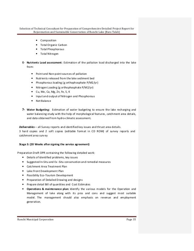 Rfp document for preparation of comprehensive detailed project report…