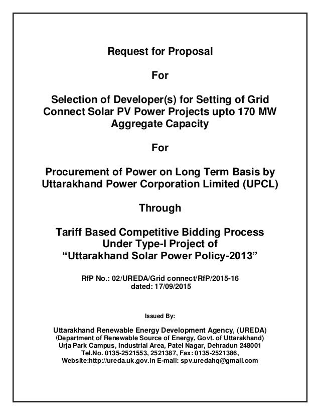 Rfp for tariff based competitive bidding for upto 170 mw solar power …