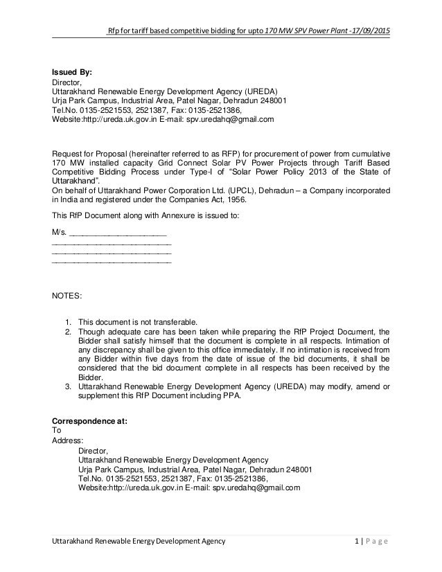 Rfp for tariff based competitive bidding for upto 170 mw