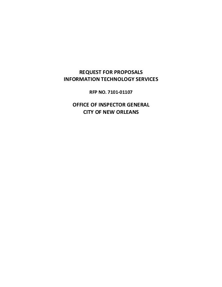 REQUEST FOR PROPOSALSINFORMATION TECHNOLOGY SERVICES        RFP NO. 7101-01107  OFFICE OF INSPECTOR GENERAL      CITY OF N...