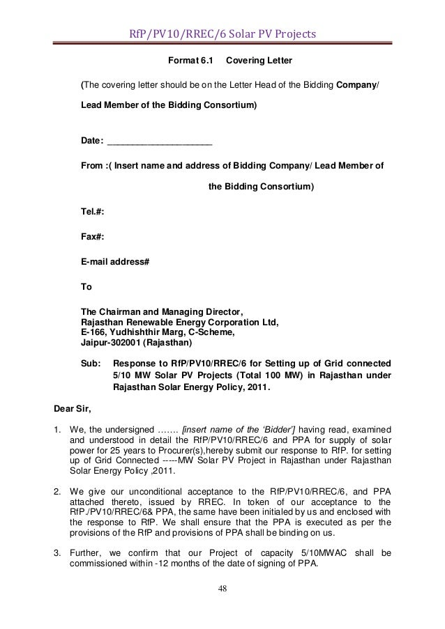 Rfp Proposal Cover Letter. attachment 8 a sample rfp cover ...
