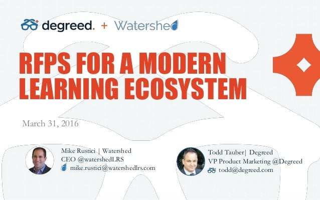 RFPS FOR A MODERN LEARNING ECOSYSTEM Mike Rustici | Watershed CEO @watershedLRS mike.rustici@watershedlrs.com March 31, 20...