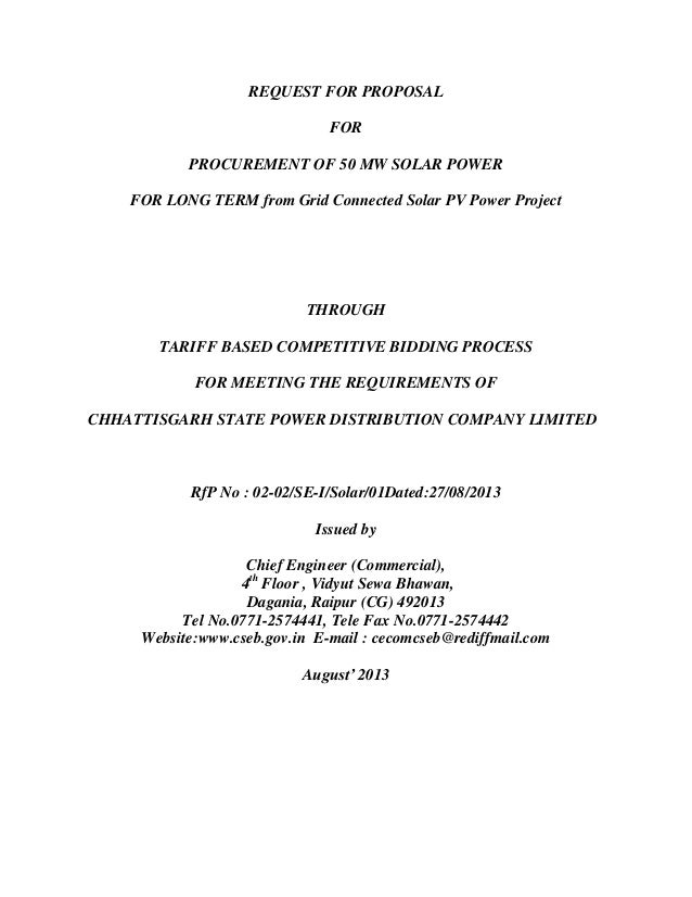 RFP Document for Grid Connected Solar Power Project in