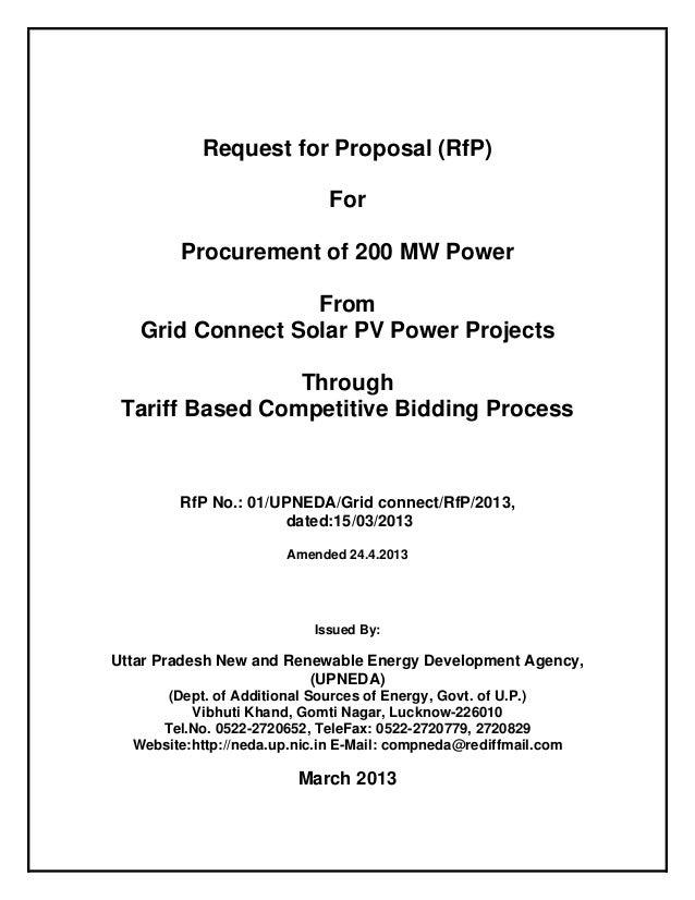 RFP Documents for Solar Plant in Uttar Pradesh