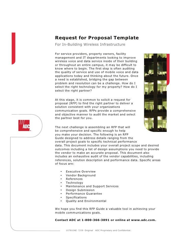 Request for Proposal TemplateFor In-Building Wireless InfrastructureFor service providers, property owners, facilitymanage...