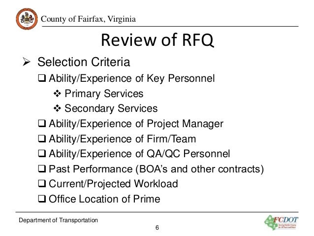 request for qualifications rfq for design of various