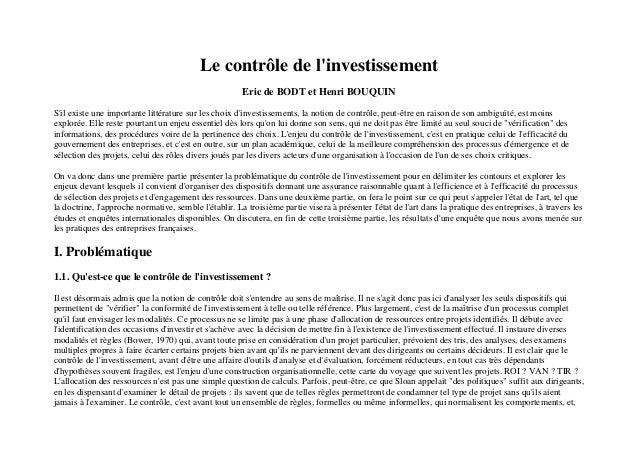 Le contrôle de linvestissement                                                       Eric de BODT et Henri BOUQUINSil exis...