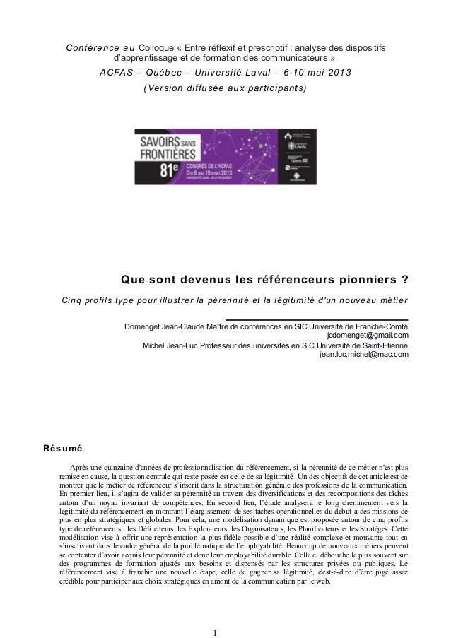 Conférence au Colloque « Entre réflexif et prescriptif : analyse des dispositifsd'apprentissage et de formation des commun...
