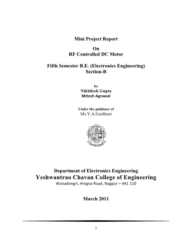 Mini Project Report                     On            RF Controlled DC Motor   Fifth Semester B.E. (Electronics Engineerin...