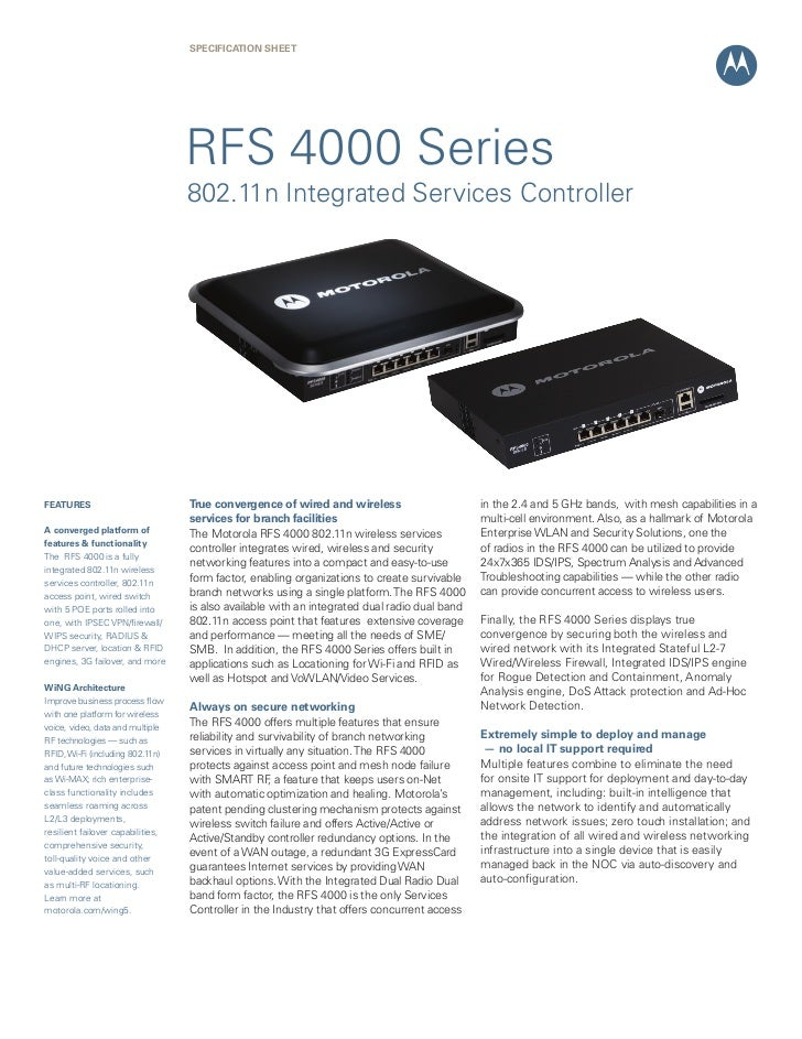 SPECIFICATION SHEET                                   RFS 4000 Series                                   802.11n Integrated...