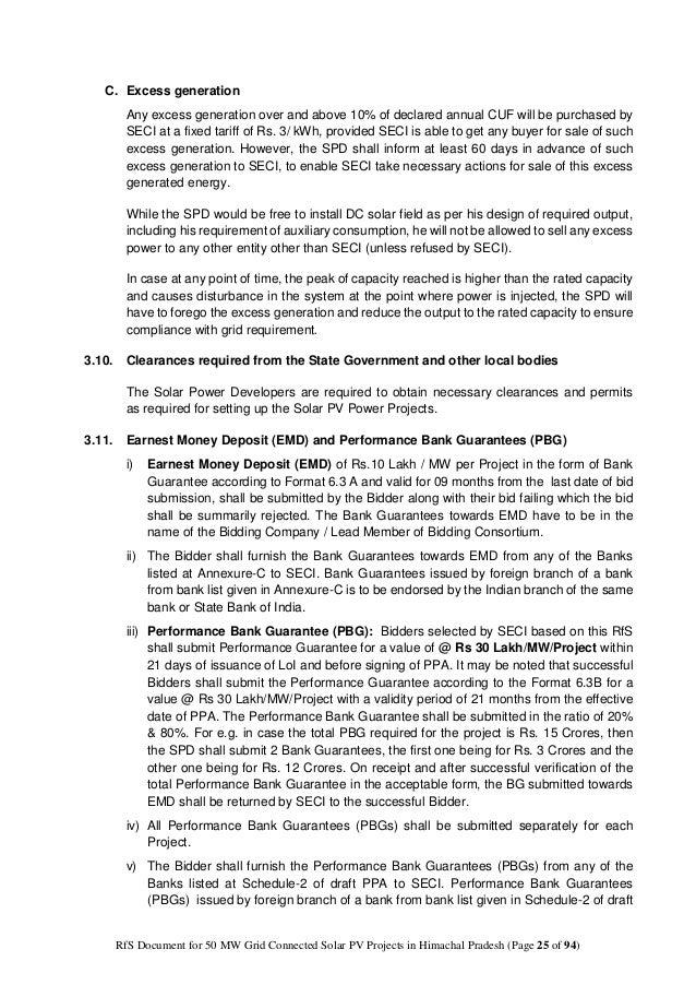 Rfs For 50 Mw In Solar Power Projects Himachal Pradesh Under Nsm Ph I