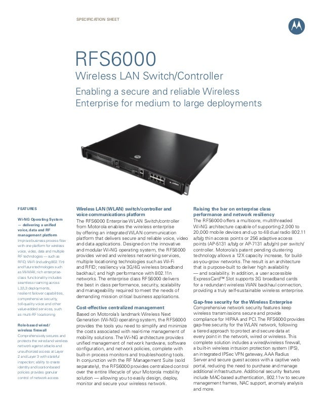 SPECIFICATION Sheet  RFS6000  Wireless LAN Switch/Controller Enabling a secure and reliable Wireless Enterprise for medium...